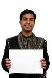 Indian in traditional clothes holding a white board in hand (2). Clipping path avaliable Stock Photography