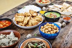 Indian traditional dishes on the dining table. Asian cuisine. Close up Royalty Free Stock Images