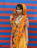 Indian Traditional Drees. A typical bengali model outside of the fashion stage during collage function Royalty Free Stock Photos