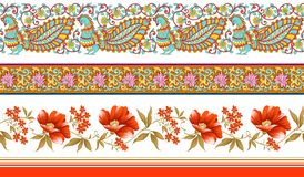 Indian traditional floral borders stock illustration