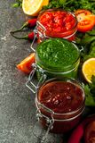Indian traditional food, Set of three chutney for Chaat and Sev royalty free stock photography