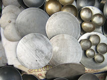 Indian Traditional Frying Pans & Bowls Royalty Free Stock Photo