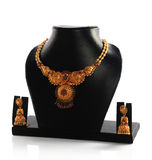 Indian Traditional Gold Necklace. With Earrings Royalty Free Stock Image