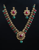 Indian Traditional Gold Necklace With Earrings Royalty Free Stock Photography