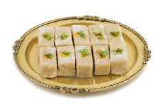 Gunja Peda or Thor peda. Indian Traditional Gunja peda Sweet Food Also Know as Thor peda Dessert isolated on White Background Royalty Free Stock Image
