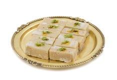 Gunja Peda or Thor peda. Indian Traditional Gunja peda Sweet Food Also Know as Thor peda Dessert isolated on White Background Royalty Free Stock Photo