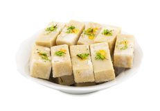 Gunja Peda or Thor peda. Indian Traditional Gunja peda Sweet Food Also Know as Thor peda Dessert isolated on White Background Stock Photography