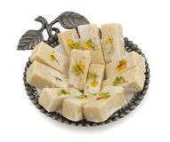 Gunja Peda or Thor peda. Indian Traditional Gunja peda Sweet Food Also Know as Thor peda Dessert isolated on White Background Royalty Free Stock Images