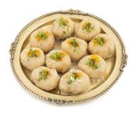 Gunja Peda or Thor peda. Indian Traditional Gunja peda Sweet Food Also Know as Thor peda Dessert isolated on White Background Stock Photos