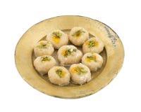 Gunja Peda or Thor peda. Indian Traditional Gunja peda Sweet Food Also Know as Thor peda Dessert isolated on White Background Stock Photo