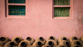 Indian Traditional handmade Clay pots for drinking water stock photos