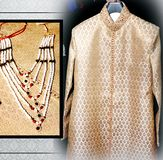 Indian traditional jewerly, and clothing. Accessories stock images