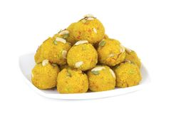 Motichoor Laddu. Indian Traditional Laddu Sweet Food Also Know as Motichoor Laddu Dessert isolated on White Background royalty free stock photography