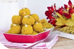 Motichoor Laddu. Indian Traditional Laddu Sweet Food Also Know as Motichoor Laddu Dessert isolated on White Background stock photography