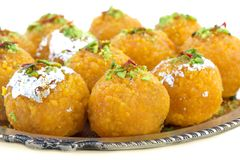 Motichoor Laddu. Indian Traditional Laddu Sweet Food Also Know as Motichoor Laddu Dessert isolated on White Background stock photos