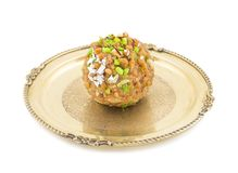 Motichoor Laddu. Indian Traditional Laddu Sweet Food Also Know as Motichoor Laddu Dessert isolated on White Background royalty free stock image