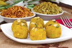 Motichoor Laddu. Indian Traditional Laddu Sweet Food Also Know as Motichoor Laddu Dessert on White Background stock photo