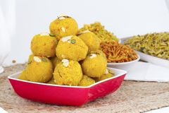 Motichoor Laddu. Indian Traditional Laddu Sweet Food Also Know as Motichoor Laddu Dessert on White Background royalty free stock image