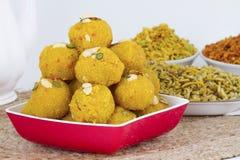 Motichoor Laddu. Indian Traditional Laddu Sweet Food Also Know as Motichoor Laddu Dessert on White Background stock image