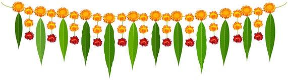 Indian traditional mala garland mango leaves and orange flowers stock illustration