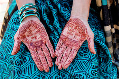 Indian traditional mehndi design on women's hands Stock Images