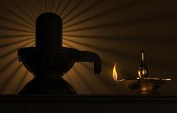 Indian Traditional Oil Lamp with siva lingam. 3D Rendered Image Royalty Free Stock Photos