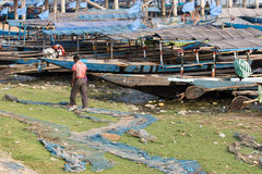 Indian traditional pirogue on the Chilika lake Stock Images