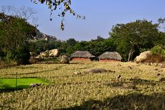 Indian traditional rural landscape with two small houses with thatched roof. Village near Hampi, Karnataka, India stock photos