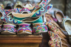 Indian traditional shoes royalty free stock images
