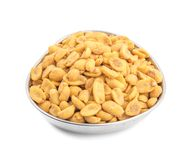 Indian Traditional Snack Food Masala Peanuts. Also Know as Masala Sing Masala Shing or Spicy Peanuts Coated with Spices isolated on white background royalty free stock images