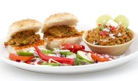 Pav Bhaji. Indian traditional street food Pav Bhaji Stock Photo