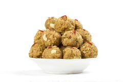Urad Dal Laddu. Indian Traditional Sweet Food Urad Dal Laddu made of butter, dry fruits, fenugreek and other spices, laddu food mostly eat in winter season for stock photo
