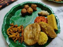 Indian traditional sweets in the plate to serve stock photos