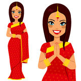 Indian Traditional Woman. Traditional Indian woman holding hands in prayer position and full body pose Stock Image