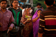 Indian traditional women at Chhath pooja festival Royalty Free Stock Photo