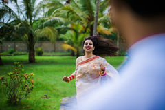 Indian Traditional Young Couple. A newly married Indian Couple in tradition dress Stock Images