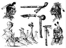 Indian traditions set. landscape with mountains. National American. Mace, feathers and Ax, chanunpa or tools. engraved. Hand drawn in old sketch. occultism Stock Photo