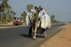 Indian traffic. Shows the traditional way of transporting goods in a country rapidly modernizing. This will soon disappear Stock Photos