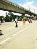 Indian traffic on the main road of a city. royalty free stock photo