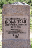 Indian Trail Monument - Garden of the Gods Colorado. Stone monument that marks the Plains Indians Trail to Ute Pass. Taken in the Garden of the Gods National Royalty Free Stock Photo