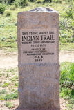 Indian Trail Monument - Garden of the Gods Colorado. Stone monument that marks the Plains Indians Trail to Ute Pass. Taken in the Garden of the Gods National Stock Image