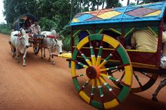 Indian Transportation. September 08,2012 Jhargram,West Bengal,India,Asia-A cow cart at the remote village of West Bengal Stock Photo