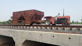 Indian trator train on patri. On Royalty Free Stock Images