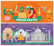 Indian Travel Banners. With architecture and elements of culture isolated vector illustration Royalty Free Stock Image