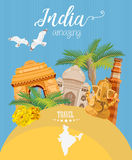 Indian travel colorful template. Amazing India. I love India. Vector illustration in vintage style vector illustration