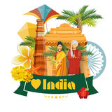 Indian travel colorful template with indian icons. I love India. Vector illustration in retro style Stock Photography