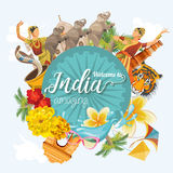 Indian travel colorful template. Indian set. Welcome to amazing India. I love India. Vector illustration in vintage style Royalty Free Stock Image