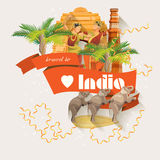 Indian travel colorful template with traditional indian icons. I love India. Vector illustration in retro style Stock Photo