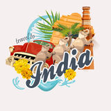 Indian travel colorful template. Travel to India. I love India. Vector illustration in vintage style royalty free illustration