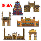 Indian travel landmarks thin line icon Royalty Free Stock Photo
